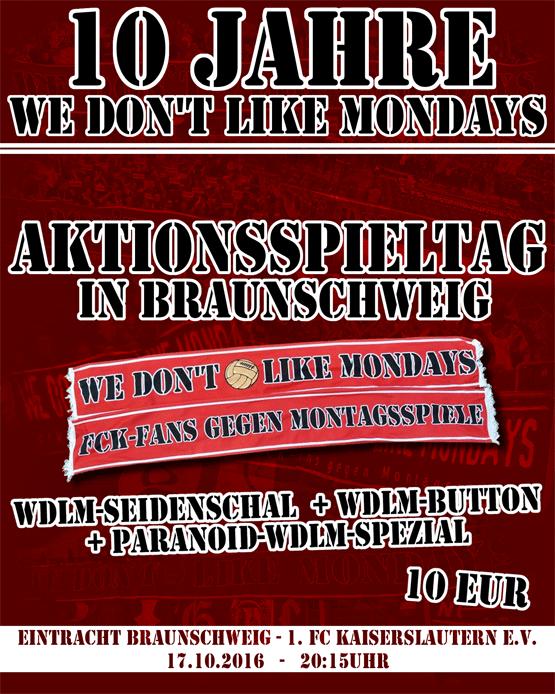 Ankündigungsplakat zum Montagsspiel in Braunschweig