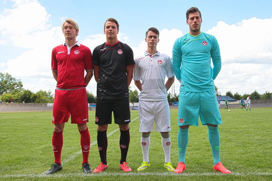 Die neuen FCK-Trikots zur Saison 2015/16: Heim, Auswärts, Ausweich, Torwart (v.l.n.r.); Foto: Jens Vollmer
